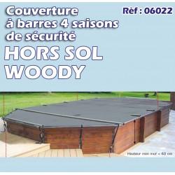 Couverture à barre de sécurite WOODY hors sol OPAQUE