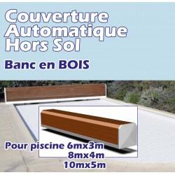 Couverture Hors Sol Automatique avec coffre en BOIS POOL CONFORT
