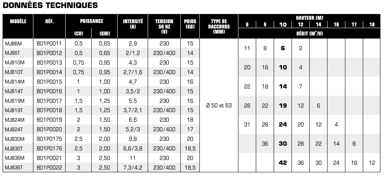 Tableau caractéristique technique, fiche technique Pompe  de filtration VIPOOL série MJB
